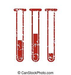 Red grunge flasks with medicines logo