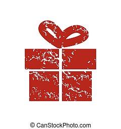 Red grunge gift logo