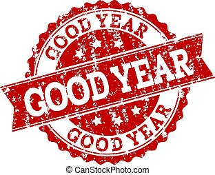Red Grunge GOOD YEAR Stamp Seal Watermark