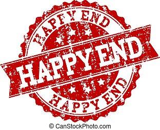 Red Grunge HAPPY END Stamp Seal Watermark