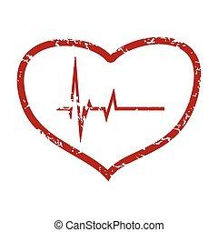 Red grunge heart beating logo