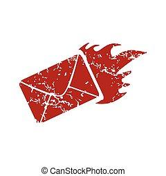 Red grunge hot letter logo