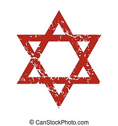 Red grunge Judaism logo on a white background. Vector...