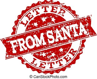 Red Grunge LETTER FROM SANTA Stamp Seal Watermark