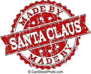 Red Grunge MADE BY SANTA CLAUS Stamp Seal Watermark