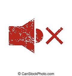 Red grunge no sound logo
