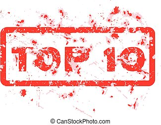 Red grunge office stamp with text top 10 isolated on white background