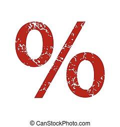 Red grunge percentage logo