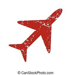 Red grunge plane logo