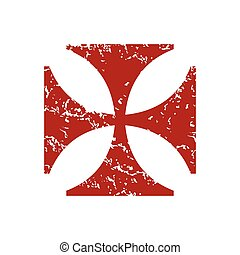 Red grunge religion cross logo