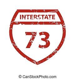 Red grunge road sign logo