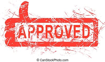 red grunge rubber stamp APPROVED with regtangular thumb up sign vector illustration, isolated on white background