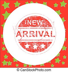red grunge rubber stamp NEW ARRIVAL in circle vector illustration, isolated on white background