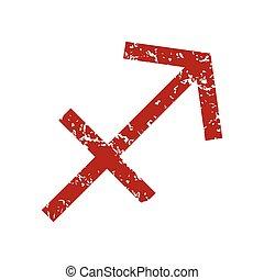 Red grunge Sagittarius logo