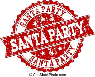 Red Grunge SANTA PARTY Stamp Seal Watermark