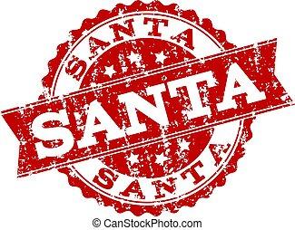 Red Grunge SANTA Stamp Seal Watermark