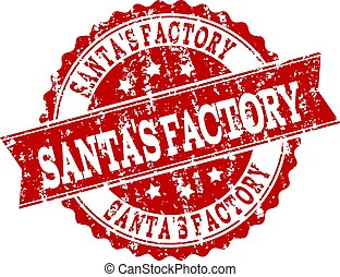 Red Grunge SANTA'S FACTORY Stamp Seal Watermark