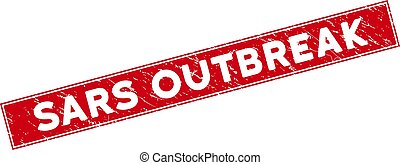 Red Grunge Sars Outbreak Rectangle Stamp