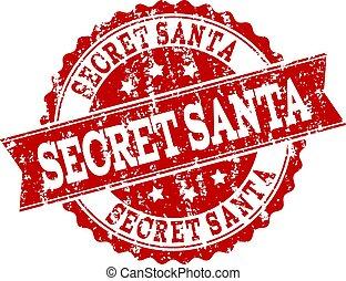 Red Grunge SECRET SANTA Stamp Seal Watermark