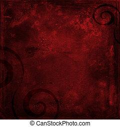 Red grunge shabby background with black swirls - Deep red...