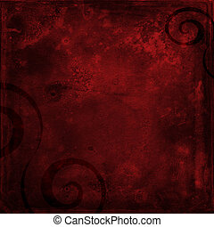 Red grunge shabby background with black swirls - Deep red...
