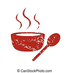 Red grunge soup logo on a white background. Vector...