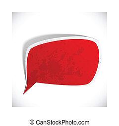 Red grunge speech label design.