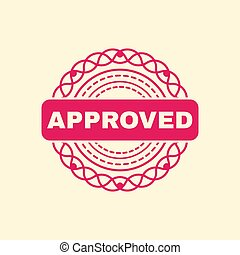 red grunge stamp, approved. vector