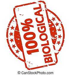 red grunge stamp with Banner 100% biological