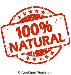 red grunge stamp with Banner 100% natural