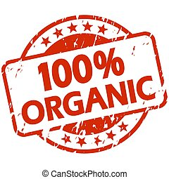red grunge stamp with Banner 100% organic