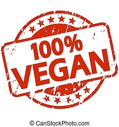 red grunge stamp with Banner 100% vegan