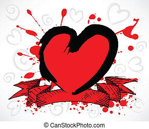 Red Grunge Style Heart