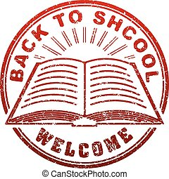 Red grunge style rubber stamp with book, sunburst and caption Back to school written inside the stamp
