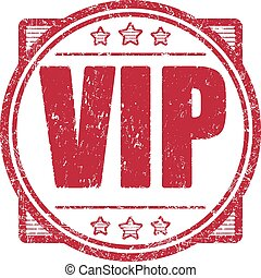 Red grunge style vector rubber stamp with stars Vip.