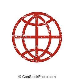 Red grunge world logo