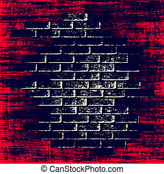Red grungy abstract background with dark bricks inside.