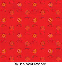 Red grungy pattern with Christmas baubles