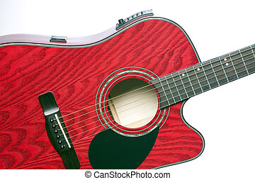 Red Guitar Isolated on White