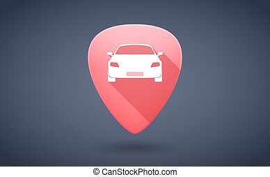 Red guitar pick icon with a car