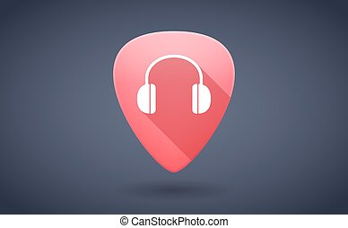 Red guitar pick icon with a earphones