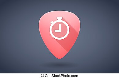 Red guitar pick icon with a timer