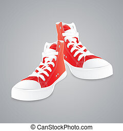 Red gumshoes. Concept vector illustration.