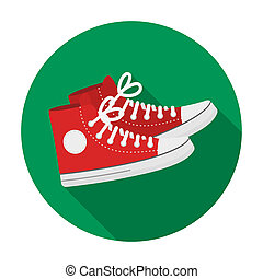 Red gumshoes icon in flat style isolated on white background. Hipster style symbol stock bitmap, rastr illustration.