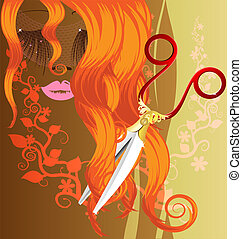 red hair and scissors - on a brown background with an...