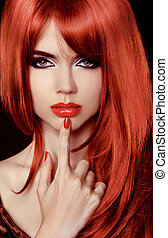 Red Hair. Beautiful Sexy Girl. Healthy Long Hair. Beauty Model Woman. Lips. Polish Nail. Hairstyle