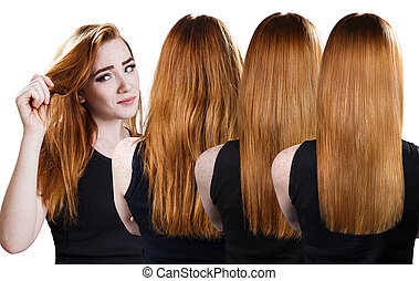 Red hair before and after treatment.