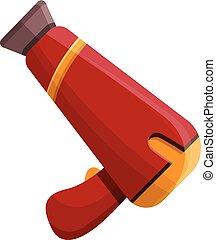 Red hair dryer icon, cartoon style