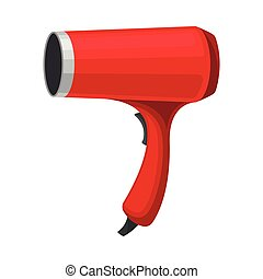 Red hair dryer. Vector illustration on a white background.