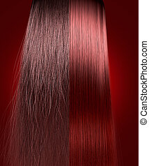 A perfect symmetrical view of a bunch of red hair split in two showing a frizzy unkempt side compared to a straight neat side on an isolated background